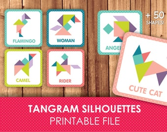 Tangram Silhouettes / Tangram Solutions / Flash Cards / Patterns / Printable & instant download