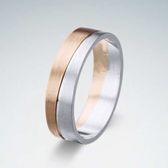 18K Mens Ring White And Rose Solid Gold Wedding Band 6mm