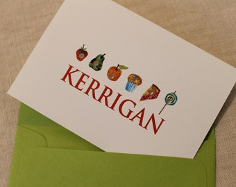 Hungry Hungry Caterpillar, Personalized Note Cards