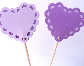 24 Light Dark Purple Heart Valentine's Day Toothpick Cupcake Toppers, Food Picks, Theme Party Picks