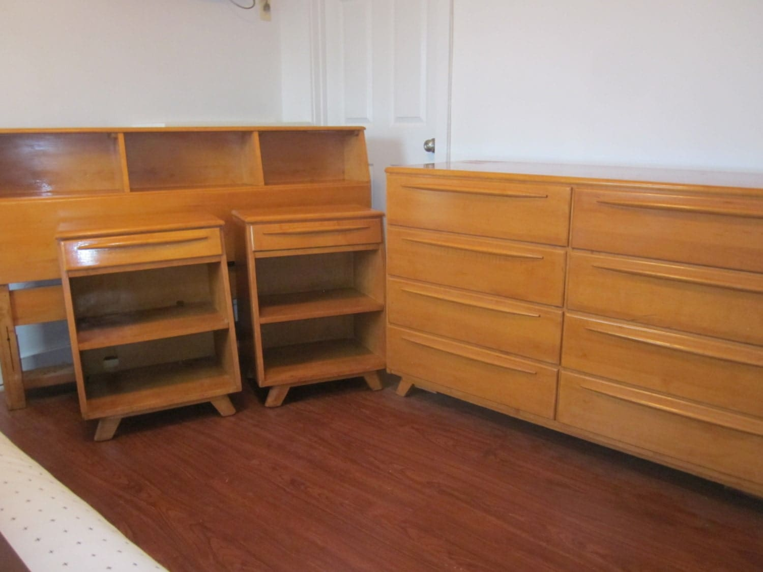 Vintage s atomic blonde wood bedroom set mid