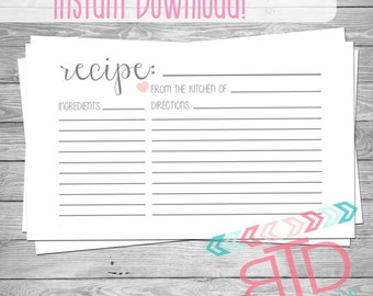 Recipe Card, Printable Recipe Card, Instant Download, Kitchen Decor, Customizable Recipe Card, 3x5 Recipe Cards, Kitchen Cook Book,