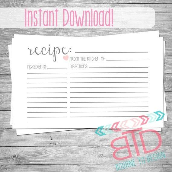 recipe card printable recipe card instant download kitchen. Black Bedroom Furniture Sets. Home Design Ideas