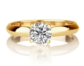 Forever Brilliant Moissanite Ring, 14K Gold Ring, Classic Solitaire Engagement Ring, 0.50 CT Moissanite Solitaire Ring