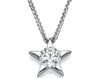Star Shape Gold Pendant Necklace, 14K White Gold Necklace, 0.4 CT Diamond Pendant, Wedding Jewelry, Bridal Jewelry, Anniversary Gift