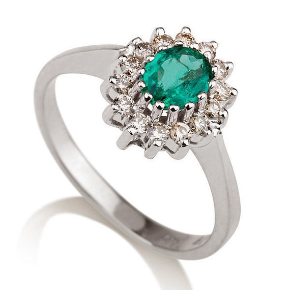 emerald engagement ring solitaire with accents 14k white