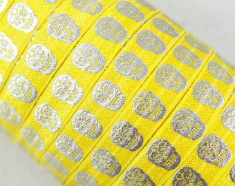 "Yellow with Silver Metallic Sugar Skulls 5/8"" Fold Over Elastic 1, 3 or 5 yards"