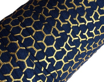 "Navy Blue with Gold Metallic Honeycomb Pattern 5/8"" Fold Over Elastic 1, 3 or 5 yards"