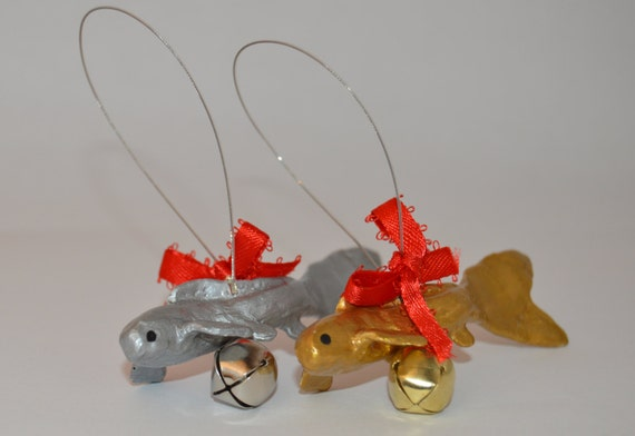 Gold and silver koi fish ornaments by ensokoi on etsy for Koi fish ornament