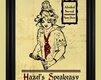 Vintage Speakeasy Art Print, Prohibition Era Poster, Alcohol Sign, Barmaid Illustration