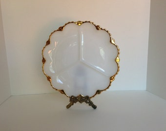 Fire King Milk Glass Divided Round Dish with Perfect Gold Trim