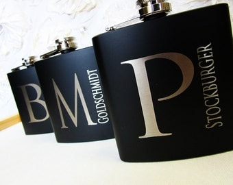 Groomsmen Gift, 4 Personalized Groomsmen Flask, Custom Engraved 6 oz Flask, Wedding Party Gifts, Gifts for Groomsmen, Groomsman Flask