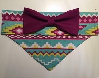 Dog Bandana - Aztec Print with Bow