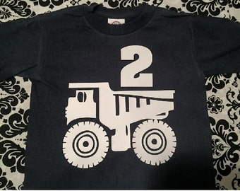 Boy's Birthday Age shirt with Dump Truck custom number / trucks theme t-shirt / shirt for boy - any size from toddler to youth