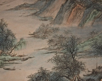 Traditional Chinese Landscape Painting, Vintage Chinese Ink Painting Hanging Scroll, Original Chinese Brush Painting, mountains and rivers