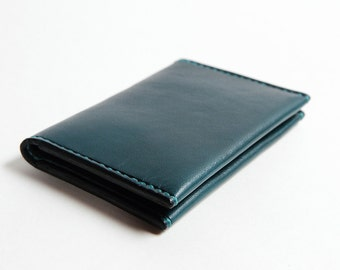 Mini Wallet Blue Leather Handmade Cardholder
