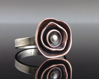 Mixed metal ring - flower ring - sterling silver ring