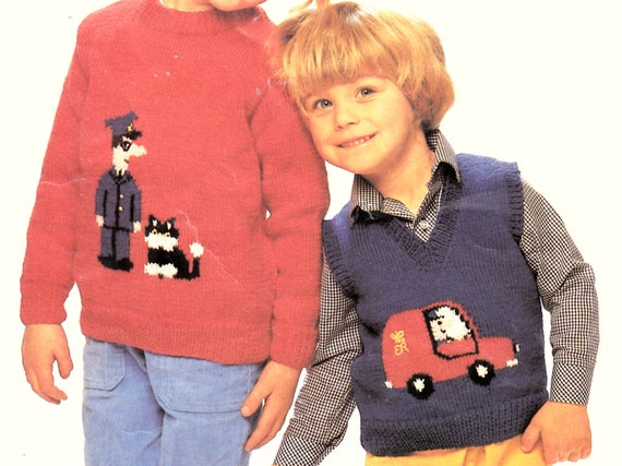 Easy Knitted Headband Free Pattern : PDF vintage knitting pattern childs postman pat sweater and