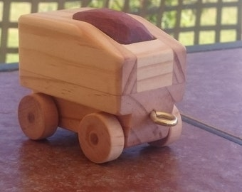 Coal tender car for a wooden train toy