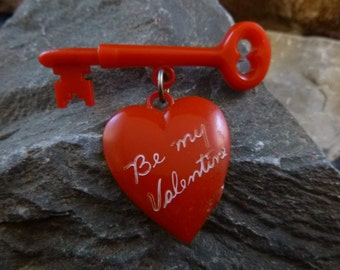 Be My Valentine Red Heart Brooch Mid Century Thermoset Vintage Plastic Heart Dangling from Key Book Piece