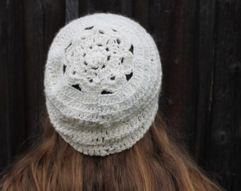 Crochet beanie from handspun merino yarn