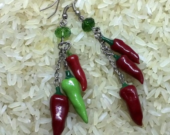Red hot chili pepper Long earrings with chili Chili earrings Long Earrings Red earrings Earrings summer - Earrings winter idea for gifts