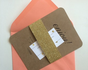 25- 1.5 Inch Gold Glitter A7 Wedding Invitation Belly Bands