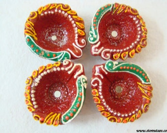 Candle holder Diya (2 color choices) terracotta tea light holder Home Decor Handmade Indian lamps - Set of 4 Indian handicraft