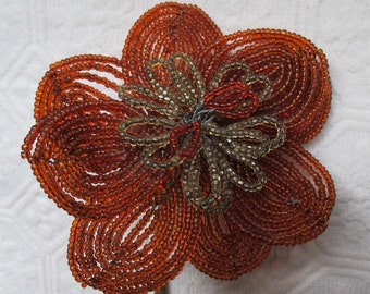 Vintage Copper/ Brown Beaded Flower