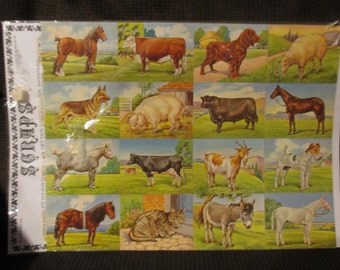 Scraps Printed in England Farm Animal Create Gift Tags or Place Cards