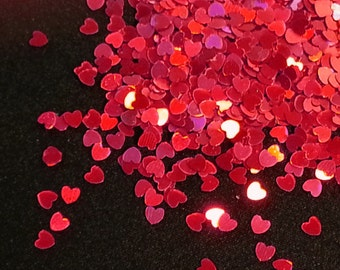 solvent-resistant glitter shapes-red hologram hearts