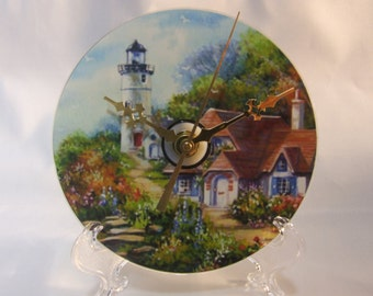Lighthouse with Cottage CD Clock