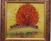 Golden Tree bead embroidered picture handmade, beadpoint, needlework, beadwork