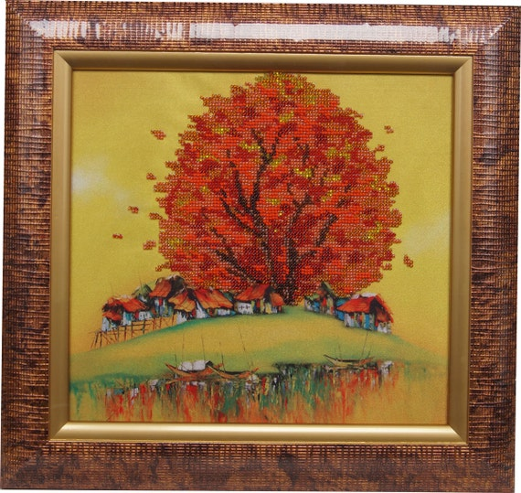 Golden Tree bead embroidered picture handmade, beadpoint, needlework, beadwork