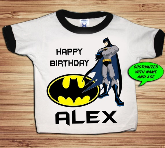 Personalized Batman Birthday Shirt - Ringer custom Comic Super Hero