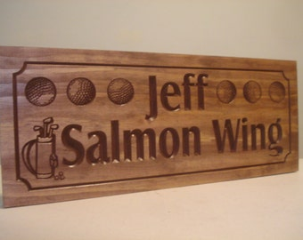 Custom Sign, Golf theme, carved Sign with Golfer, Golf Balls, Golf Clubs, Country Club, Wooden Wall Art, Golfing, Fathers Day, Gifts for Dad