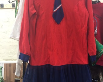 Cute red and navy 1960's mod dress