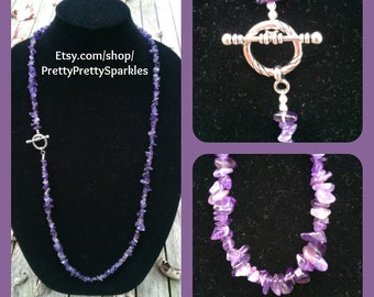Amethyst Statement Necklace / 35 inch long purple necklace / purple statement necklace / purple necklace