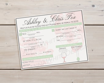 Printable RSVP Card, Personalized RSVP Wedding Card, Unique Response Card, Customizable RSVP Card