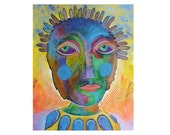 Outsider Art Print - Folk Art Face - Primitive Art Print - Beatrice Artist - Art Brut Print - Contemporary Portrait - Raw Art Face