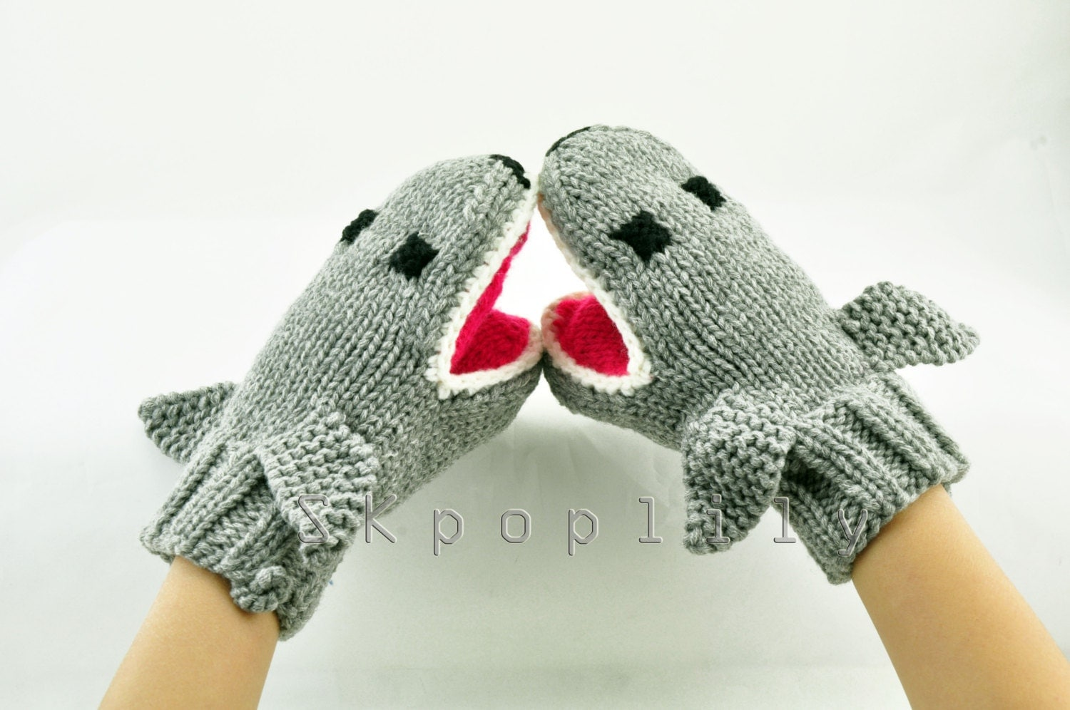 New Design... Knit Mittens Animal Knitted by SKpoplily on Etsy