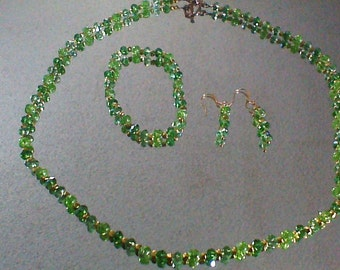 Green and Gold Three Piece Jewelry Set