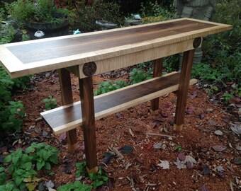 Elegant Hall Table, Straight Line, Figured Wood Furniture Art