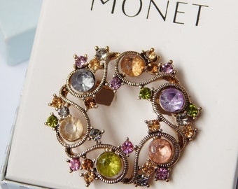 Monet Circular Wreath Brooch With Multi-Colored Stones Crystals