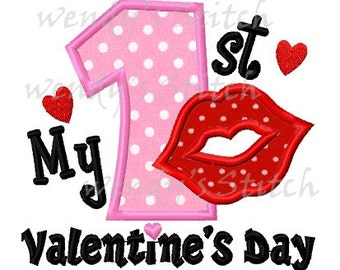 My 1st Valentine's day applique number machine embroidery design