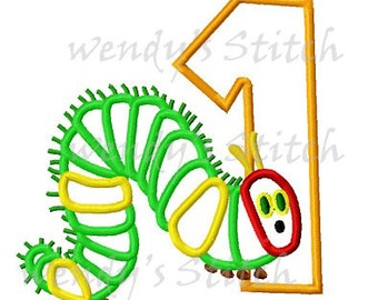 Caterpillar birthday applique number 1 machine embroidery design