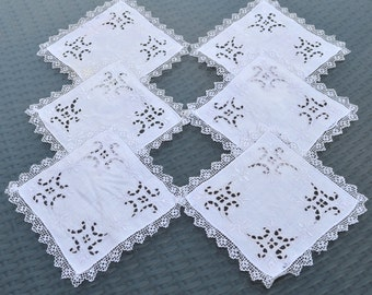 """Set of 6 Vintage Linen Coasters Mats Doilies - Hand Embroidered with Lace Edging - White on White - Wedding Afternoon Tea - 6"""" Square"""