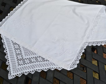 Antique Pillow Case Cushion Cover Fine White Linen Embroidery Lace Edging and Trim - Eyelet Fastening with Linen Covered Buttons - Victorian