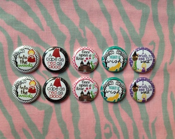 "Princess Buttons, Fairy Tale Buttons, Red Riding Hood Buttons, Rapunzel Buttons, 1"" Flatback Buttons, 10 Buttons Total"