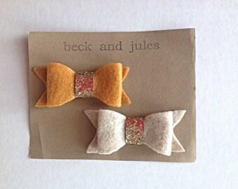 Felt and sparkle bow hair clips